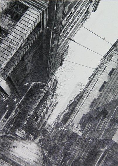 Fine Art Cityscape Melbourne, 50cm X 40cm. Graphite On Paper