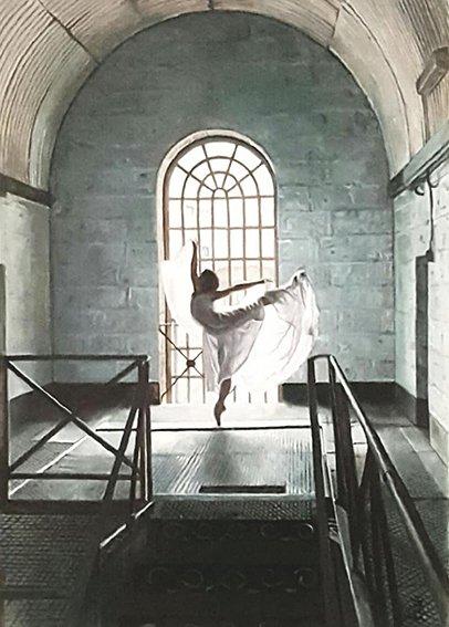 Fine Art - Dancing in the Light - Pentridge Watercolour on Paper, 77cm x 97cm framed