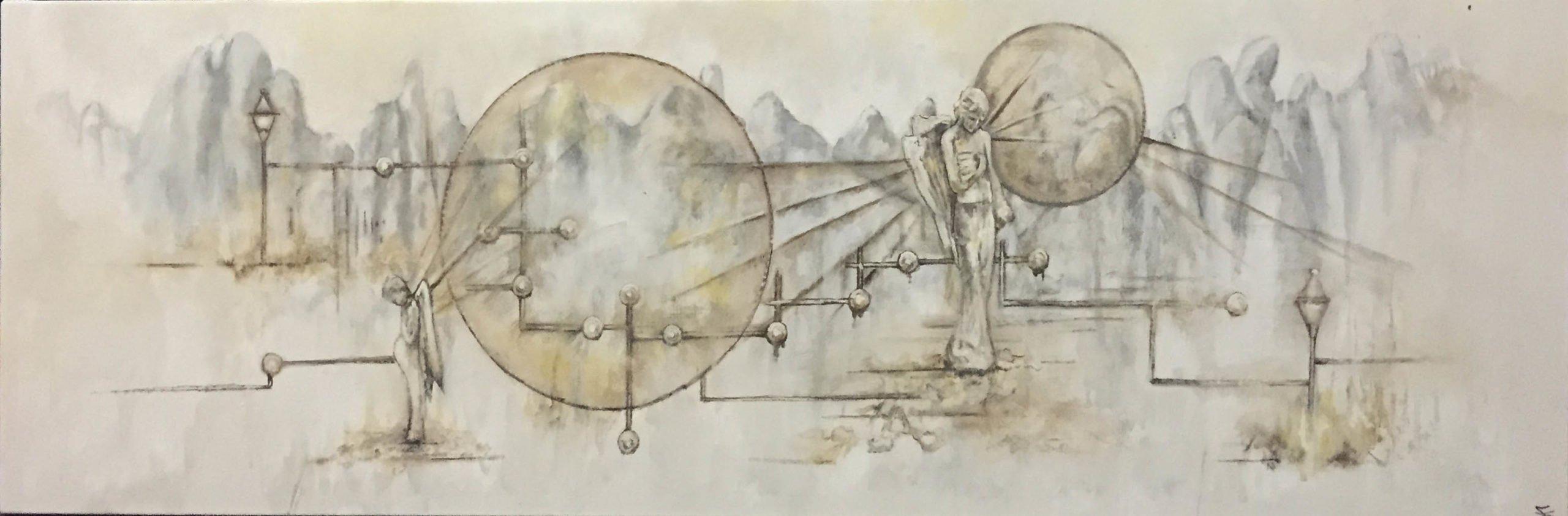 Fine Art - Angels, Gouache On Canvas, 110cm X 40cm