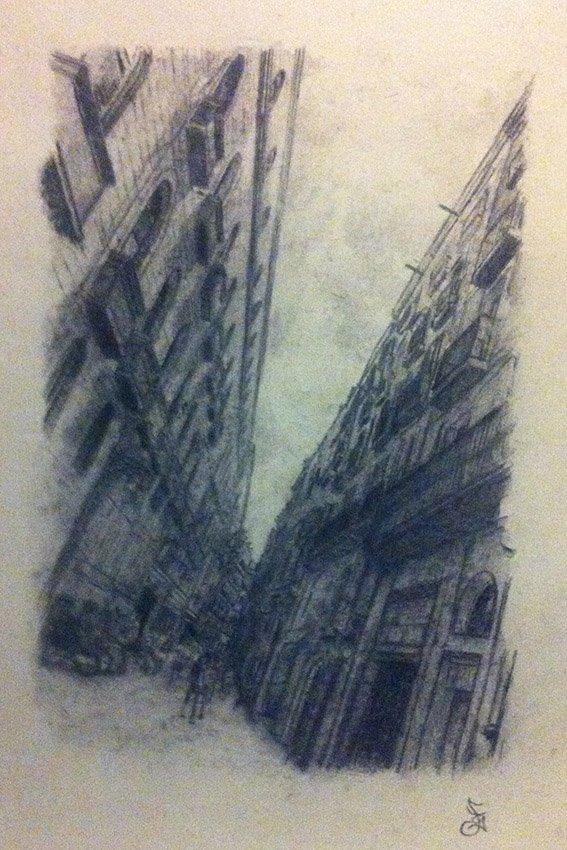 Fine Art Cityscape Barcelona Spain, 50cm X 40cm, Graphite On Paper