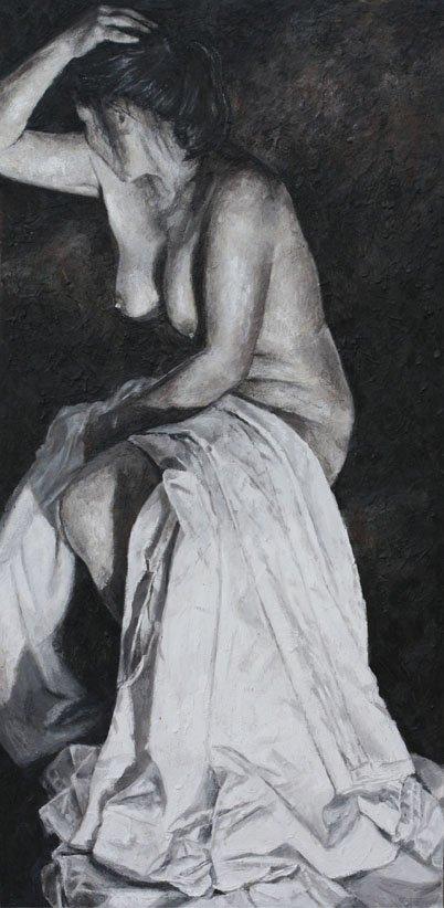 Fine Art - Thinking -122cm x 62cm, Encaustic Wax on Board