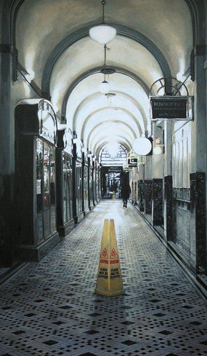 SOLD Fine art - Cityscape Trinity Arcade, Perth, Oil on Linen, 123cm x 71 cm
