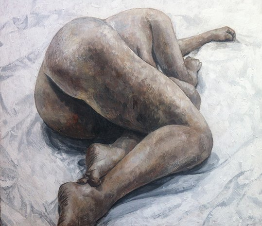 Fine Art - Encaustic Nude Big Bottom, 80cm X 70cm